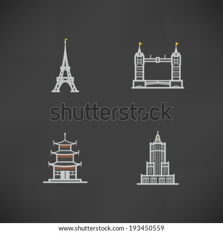 Most famous Architecture Landmarks Around the World - Eiffel tower (France), Tower Bridge (England), Pagoda at Miyajima (Japan), Palace of Culture and Science (Poland),