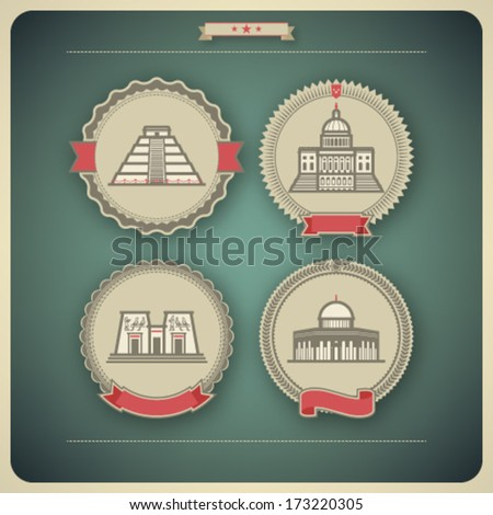 Most famous Architecture Landmarks Around the World, pictured here from left to right, top to bottom: Chichen Itza (Peru), Capital (USA), Aswan Temple (Egypt), Dome of the Rock (Israel),  - stock vector