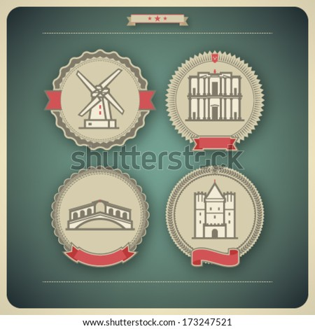 Most famous Architecture Landmarks Around the World, pictured here from left to right, top to bottom: Mills (Netherlands), Petra (Jordan), Ponte Di Rialto (Italy), Gate of Spalen (Switzerland) - stock vector