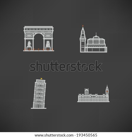 Most famous Architecture Landmarks Around the World - Triumphal Arch (France), Kremlin (Russia), Leaning Tower of Pisa (Italy), House of Parliment (England) - stock vector