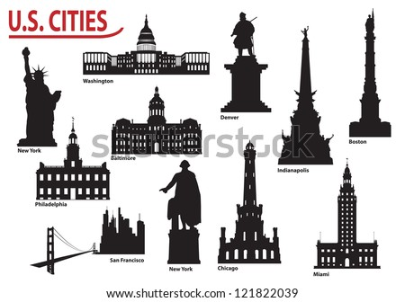 Most Famous Buildings U.S. cities - stock vector