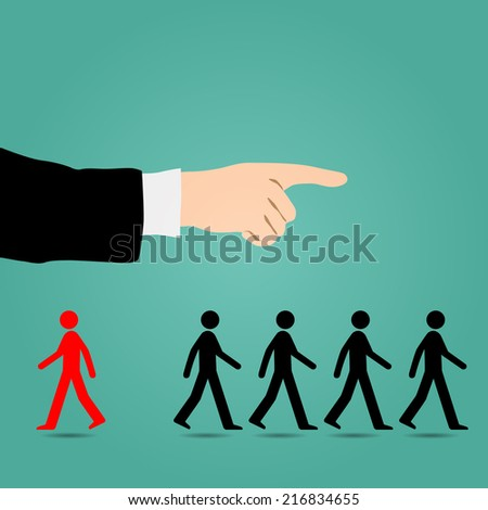 Most people are guided in the right direction. Different from the red to the contrary. - stock vector