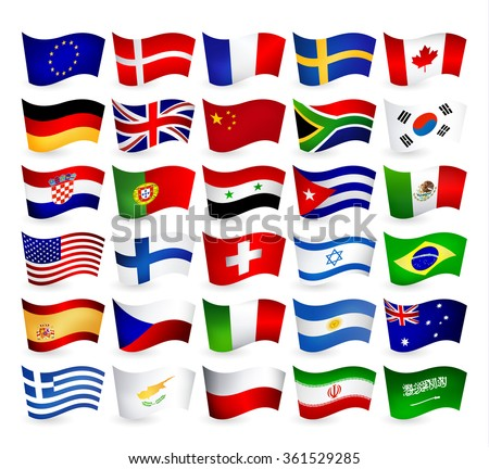 Most Popular World Flying Flags.All elements are separated in editable layers clearly labeled. - stock vector
