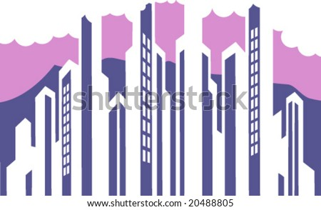 "Most useful in practice clip-art shows urban landscape, ""cityscape"" for professional graphic designers - stock vector"