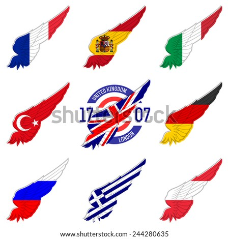 Most-visited countries in Europe by international tourist arrivals. Flags on wings. France, Spain, Italy, Turkey, Germany, United Kingdom, Russia, Greece. - stock vector