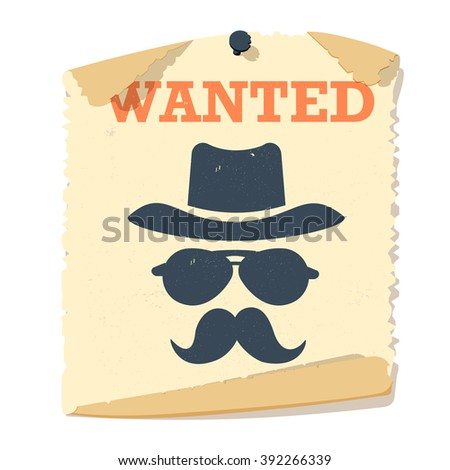 Most wanted poster vintage design and search most wanted people special poster vector. Most wanted man in hat poster concept grunge vector illustration. Western crime person - stock vector