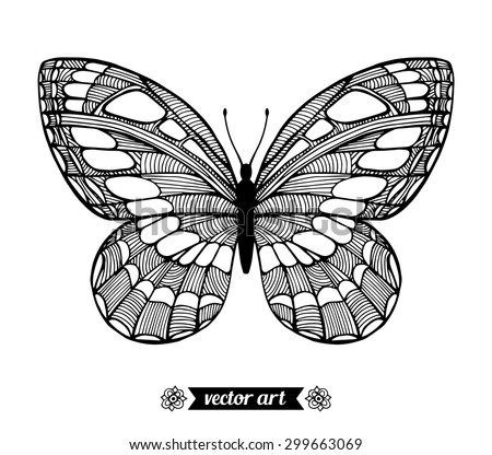 Moth, wildlife insect. Amazing fly butterfly. Vector. Creative bohemia concept for invitations, cards, tickets, branding, logo, label. Black and white - stock vector