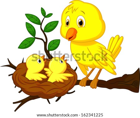 Mother and baby bird - stock vector