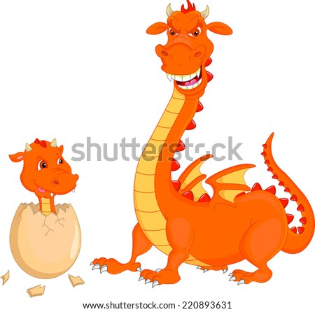 Mother and baby fire dragon hatching - stock vector