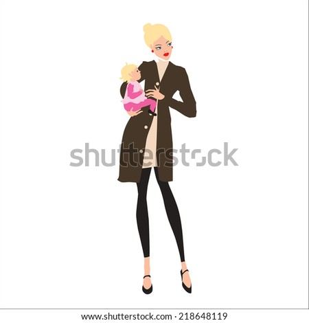 Mother and baby girl. Vector. Eps 10. - stock vector