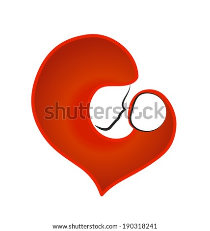 Mother and baby heart vector icon - stock vector