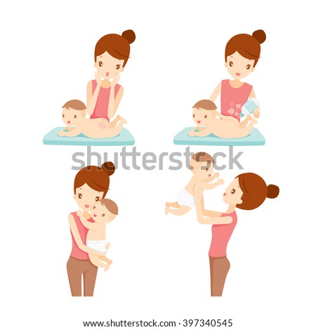 Mother And Baby Set, Mother, Baby, Rash, Mother's Day, Baby Powder - stock vector