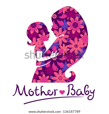 Mother and baby silhouettes - stock vector