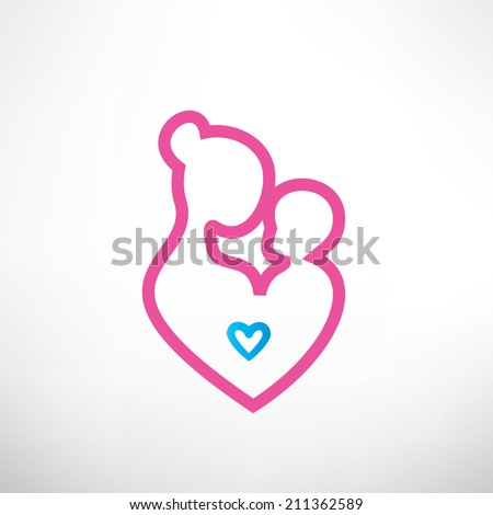 mother and baby symbol in a heart shape - stock vector