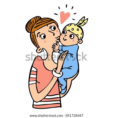 mother baby vector graphic art love stock vector 581728687 rh shutterstock com I Love You Funny Clip Art I Love You Funny Clip Art