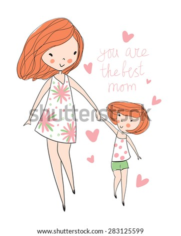 Mother and child. Cute hand drawing postcard.  - stock vector