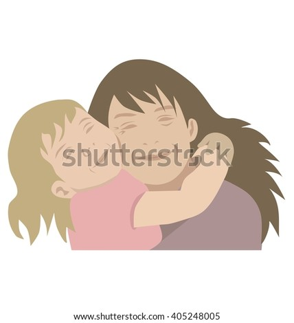 Mother and child hugging, isolated vector