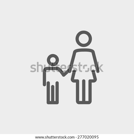 Mother and child icon thin line for web and mobile, modern minimalistic flat design. Vector dark grey icon on light grey background. - stock vector