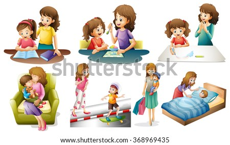 Mother and child in different actions illustration - stock vector