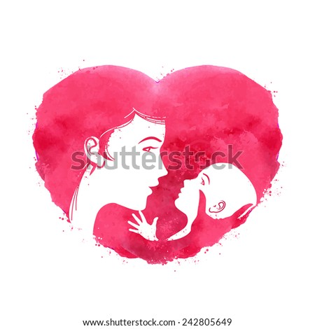 mother and child. logo, icon, sign, emblem, template - stock vector