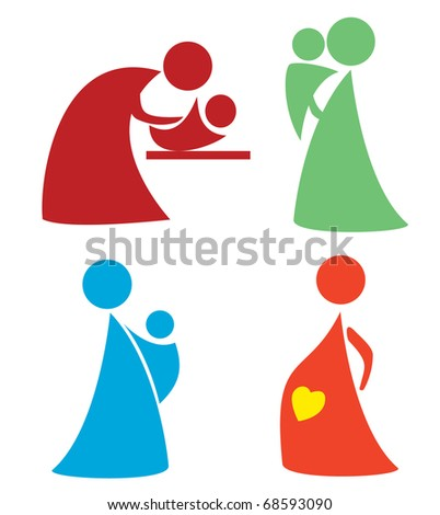 mother and child set . simple icons and symbols of woman and baby part 3 - stock vector