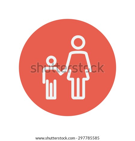 Mother and child thin line icon for web and mobile minimalistic flat design. Vector white icon inside the red circle - stock vector