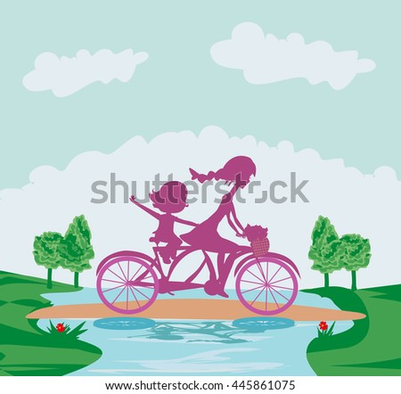 Mother and daughter biking - stock vector