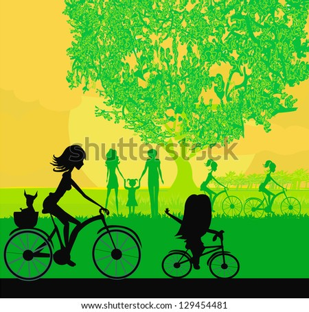 Mother and daughter biking in the park - stock vector
