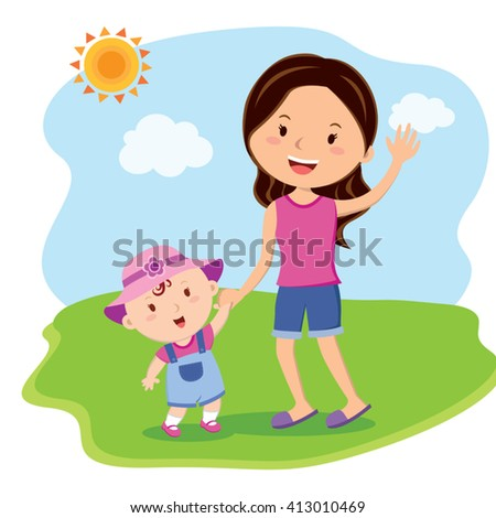 Mother and daughter bonding time. Mother and child fun in the sunny day. - stock vector