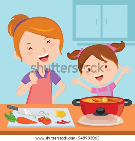 Mother and daughter cooking food together
