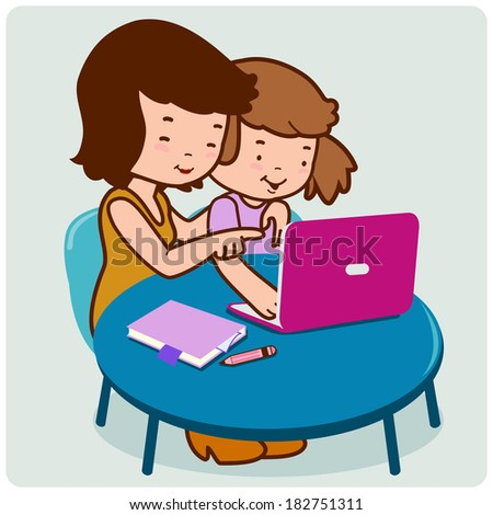 Mother and daughter on the computer.  - stock vector