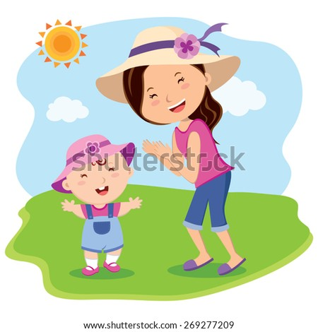 Mother and daughter outing, Mother and child outdoor fun. - stock vector