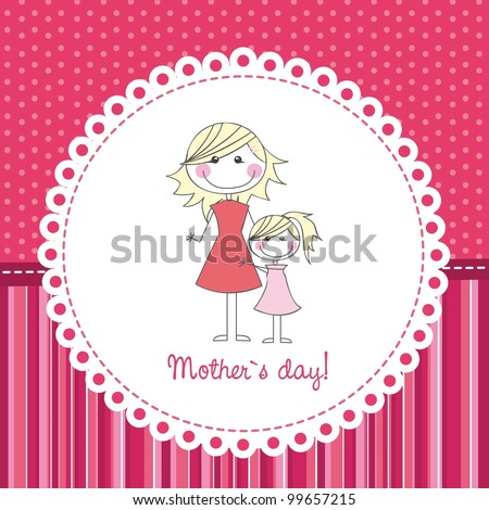 mother and daughter over cute background, hand drawing. vector - stock vector
