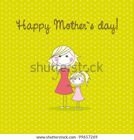 mother and daughter over green background, hand drawing. vector