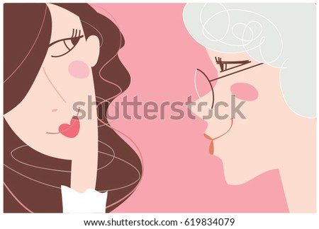 Mother and daughter portrait. Vector illustration