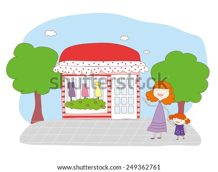 mother and daughter shopping. - stock vector