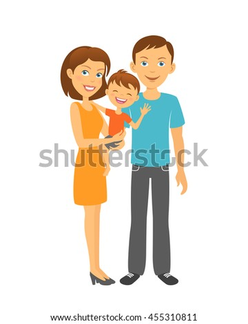 Mother and father with baby. Happy family. Parents with kid - stock vector