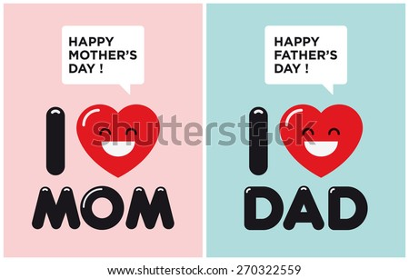 Mother and fathers day cards. I love mom. I love dad. - stock vector