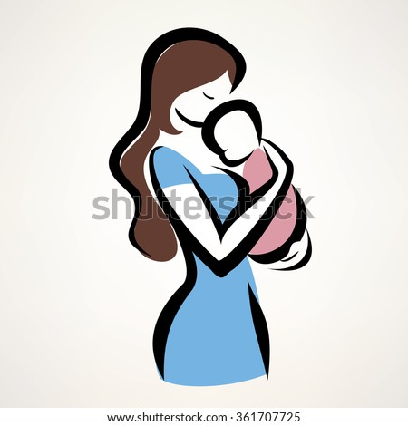 mother and her baby silhouette, isolated vector symbol of mom and child - stock vector