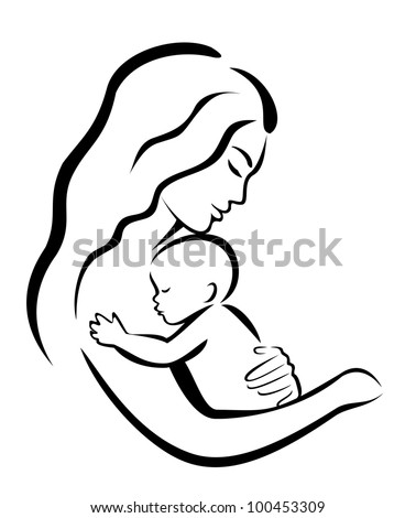 Mother and her baby symbol, vector illustration - stock vector