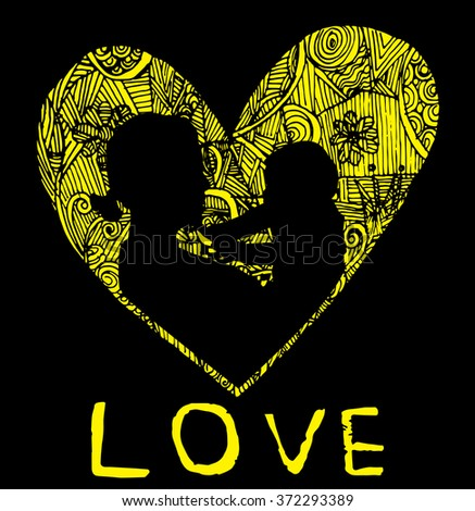 mother and son stylized vector silhouette, outlined sketch of mom and child, black yellow background, banner or flyer with text Mom for Happy Mothers Day celebration. modern mom.