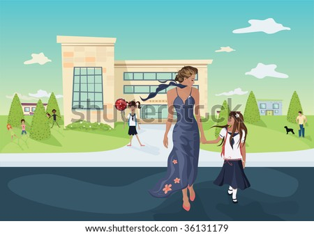 mother and the daughter in front of a school - stock vector