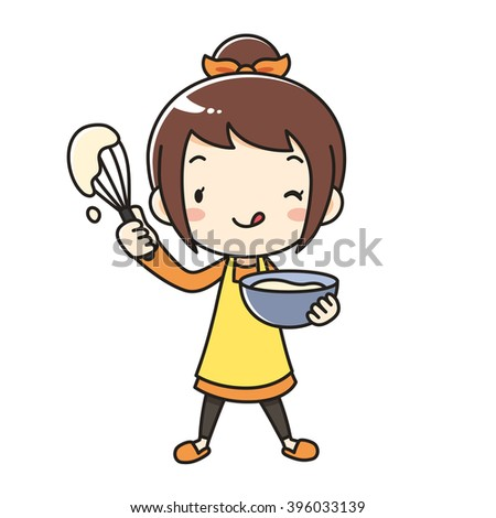 mother apron whisk - stock vector