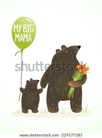 Mother Bear and her Baby Childish Animal Cartoon. Hand drawn style drawing of animal mom and her son. Vector illustration. - stock vector