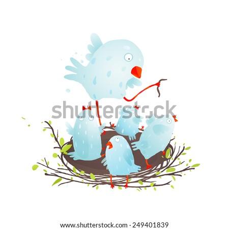Mother Bird in Nest Feeding her Babies. Birdies in nest eating and feeding. Vector illustration EPS10. - stock vector