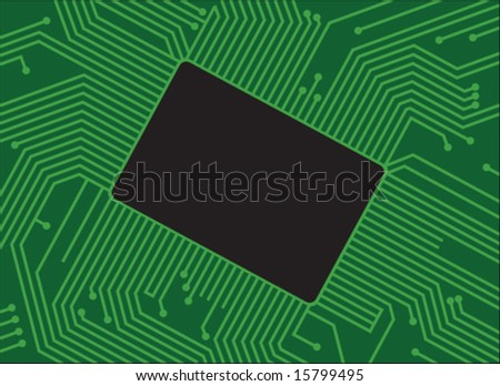 Mother board with chip components - vector - easily change colors - stock vector