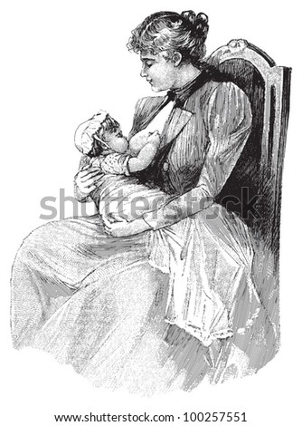 Mother breast feeding her baby / vintage illustration from Die Frau als hausarztin 1911 - stock vector