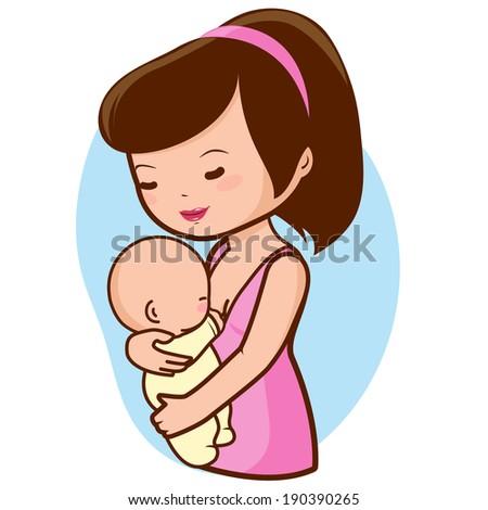 Mother breastfeeding her baby. A happy mom nursing her newborn baby. - stock vector