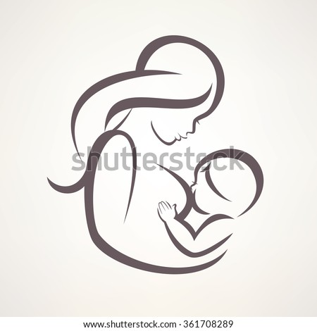 mother breastfeeding her baby symbol - stock vector