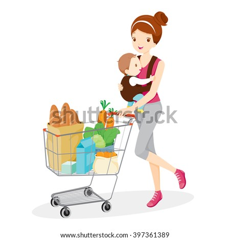 Mother Carries Baby And Pushing Shopping Cart, Mother, Shopping, Retail, Baby, Shopping Cart, Pushcart, Trolley - stock vector